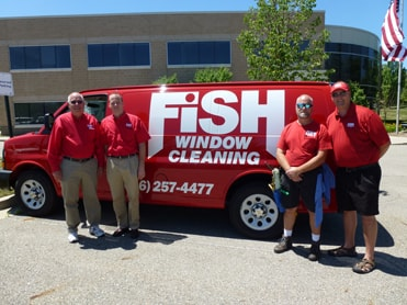 Fish Window Cleaning Grand Rapids Owner, Randy Cross, With Mike Merrick, Dana Webber, and Mike Webber
