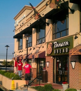 Cleaning the exterior of a Panera Bread