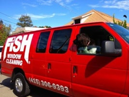 Fish Window Cleaning San Rafael Van and Dog
