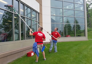 Cleaning The Exterior Windows of the YMCA