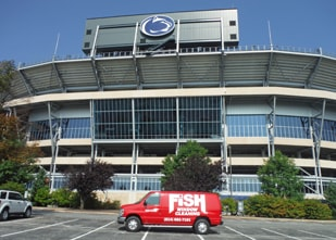Fish Window Cleaning Bellefonte Van In Front Of Penn State Beaver Stadium