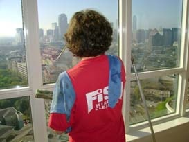 Fish Window Cleaning Dallas Cleans Window Overlooking Downtown