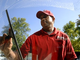 Fish Window Cleaning Wilmington NC Cleaner Using Squeegee