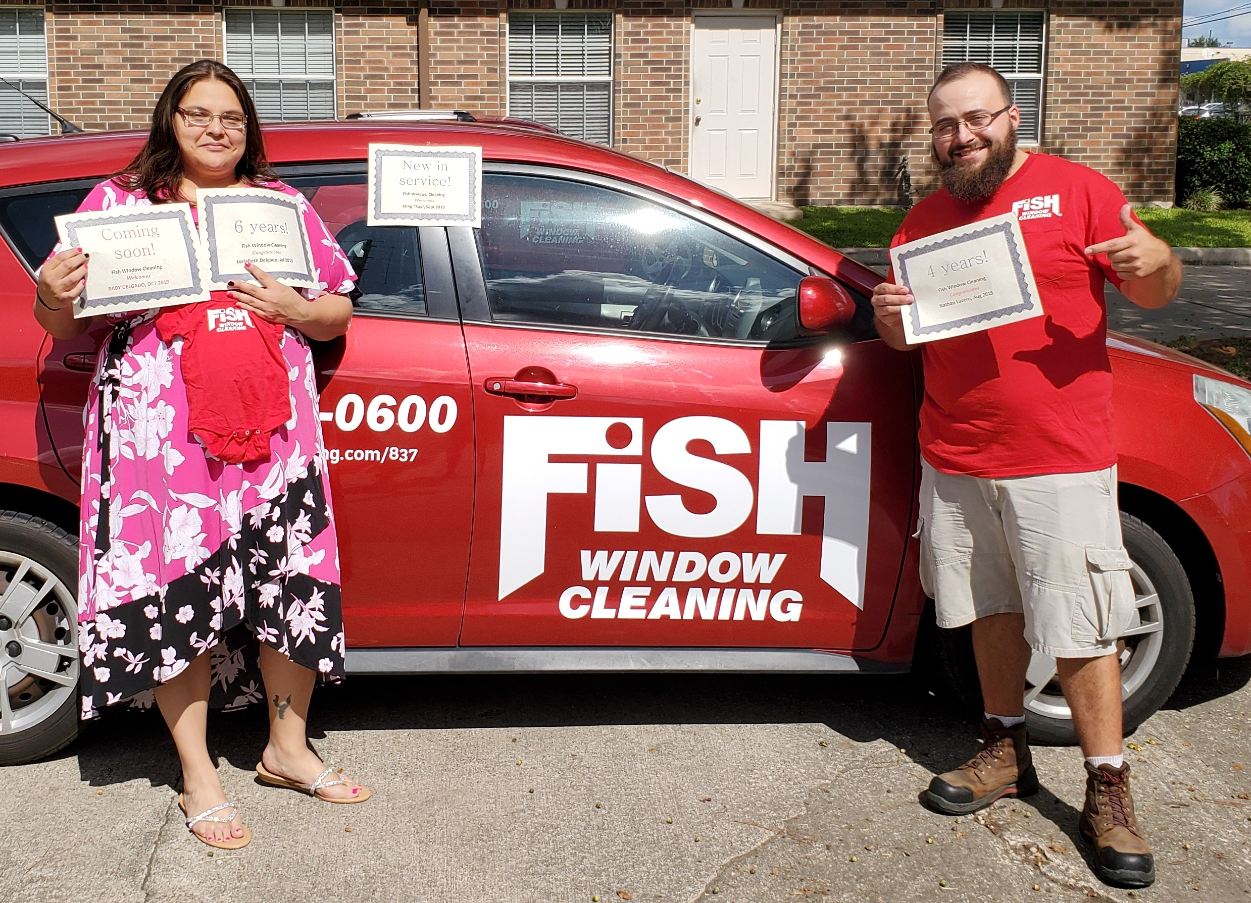 Fish Window Cleaning Employees Celebrate Anniversaries, New Vehicle, and New Baby