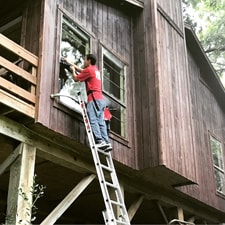 Residential Window Cleaning On A Ladder