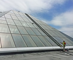 FISH Window Cleaner Using Water-Fed Pole To Clean Skylights