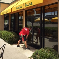 Cleaning The Windows Of A San Diego Jamba Juice