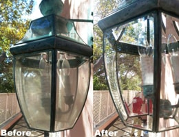 Before & After Cleaning Outdoor Light Fixture